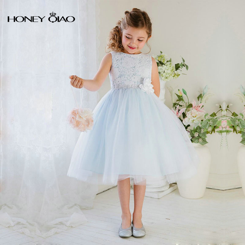 e1d6876e64c 2017 Honey Qiao Flower Girls Dresses Lilac Elegant Floral Lace Bodice with  Sash Tulle Skirt Vintage Communion Gowns Ball Gown