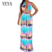 YEYA Two Piece Print Bohemian Maxi Dress Sexy Lace Up Open Back Summer Beach Dresses Sleeveless Women Long Dress Vestidos open back tribal print maxi dress