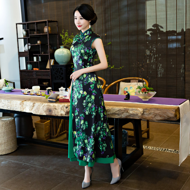 Vert De Fleur Bouton Cheongsam Robes Mandarin Robe Imprimer Col Mince Qipao Green Chinois Vietnam Main Long Aodai Femmes prPqFpw