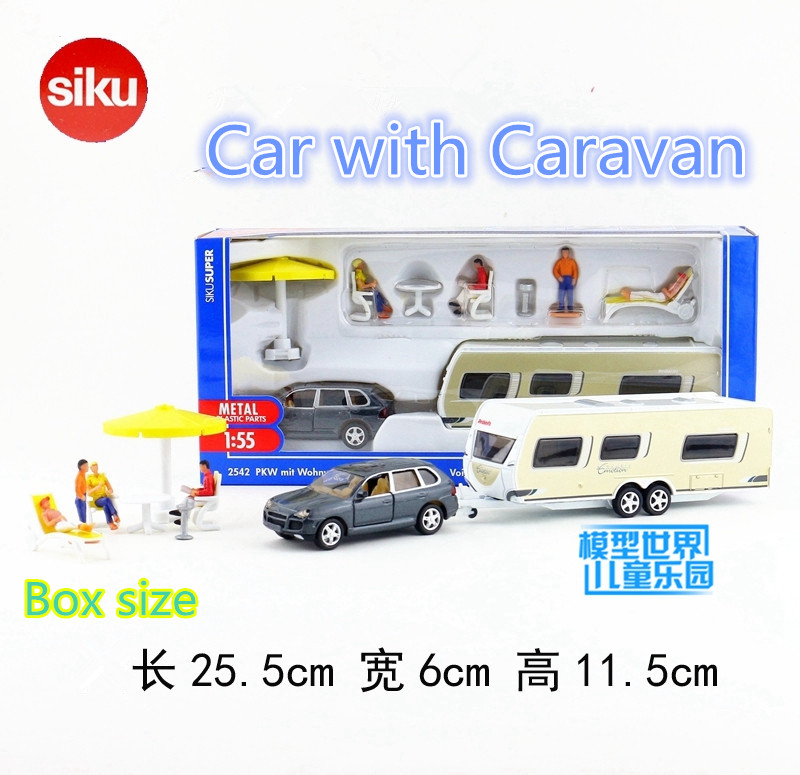 SIKU 2542/1:55 Scale/DieCast Metal Model/Super Car With Caravan Car/German Toy For Children's Gift/Educational Collection