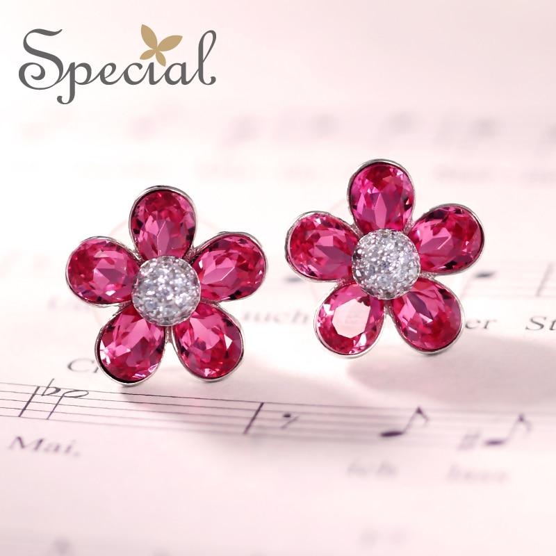 Специальные Новая мода 925 пробы серебряные серьги Для женщин ААА циркония цветок уха Стразы Симпатичные изделия подарки ED0077