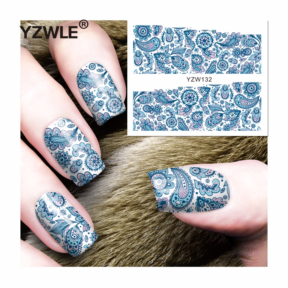 YZWLE 1 Sheet DIY Decals Nails Art Water Transfer Printing Stickers Accessories For Manicure Salon (YZW-132) yzwle 1 sheet hot gold 3d nail art stickers diy nail decorations decals foils wraps manicure styling tools yzw 6015