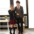 Británico japonés uniforme escolar para las niñas y los niños de invierno Senior High School Cardigan camisa A Cuadros falda mujeres chándal 5 sets