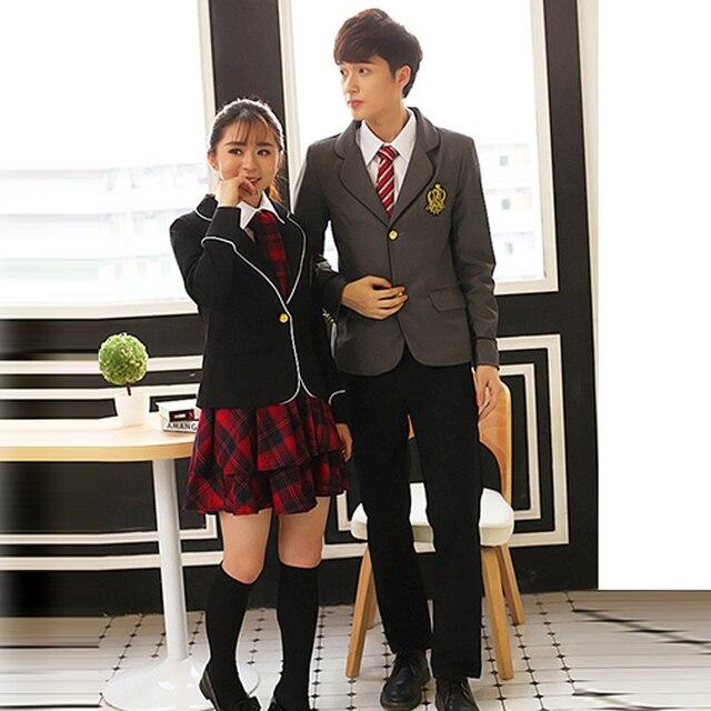 c0c59fb7acbdf Britânico japonês uniforme da escola para meninas e meninos de inverno  Senior High School Cardigan camisa