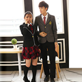 British japanese school uniform for girls and boys winter Senior High School Cardigan shirt Plaid skirt women tracksuit 5 sets