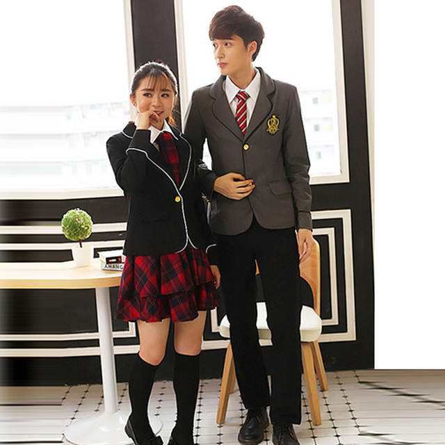 06bdf4fa3ec British japanese school uniform for girls and boys winter Senior High  School Cardigan shirt Plaid skirt women tracksuit 5 sets