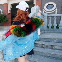 Горячие Для женщин Мода Винтаж Джинсы для женщин толстый теплый натуральный енота Мех животных лайнер джинсовые короткие Пальто для будущи
