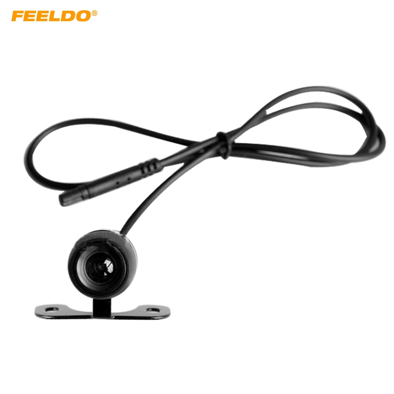 FEELDO 1Set Waterproof 2.5mm (4Pin) Jack Port Universal Night Vision Car Rear View Camera For DVR Video Recorder #AM1304 feeldo 1pc 10meters 2 5mm trrs jack connector to 5pin video extension cable for truck van car dvr camera backup camera am3845
