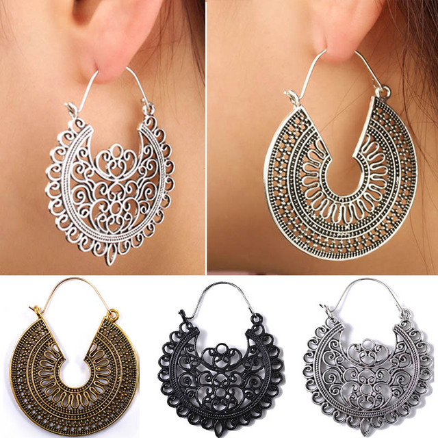 e10232717 Women Antique Silver Hollow Out Carved Earrings tribal Earring Boho Ethnic  jewelry
