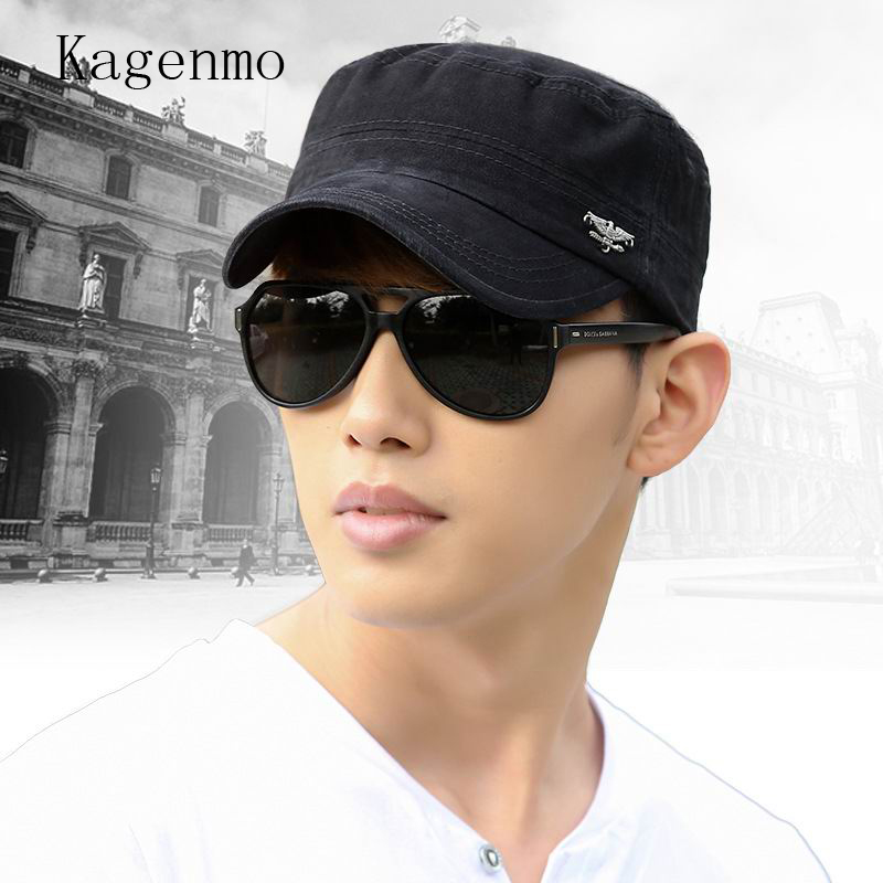 US $5 89 41% OFF|Kagenmo cool man army hat fashion hip hop military hat  summer shade cap man leisure fishing golf ride caps-in Men's Military Hats