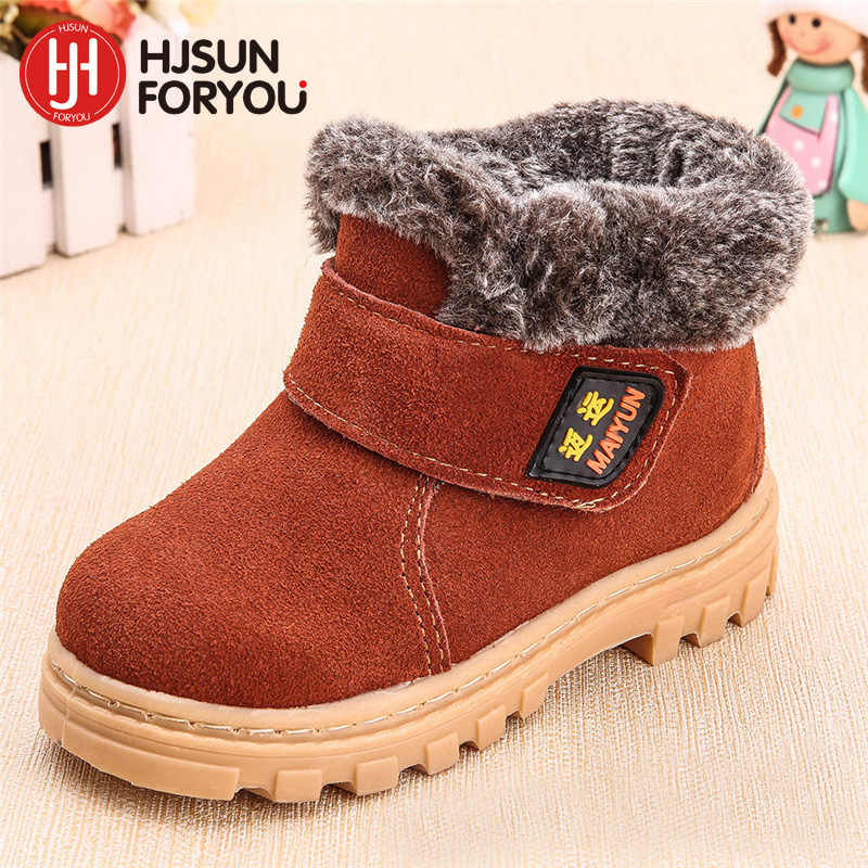 2019 new winter children's genuine leather boots boy and girls winter footwear,kids sneakers brand child ankle shoes martin boot