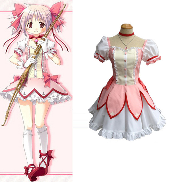 Puella Magi Madoka Magica Kaname Madoka Cosplay Uniform Suit Women Halloween  Costumes Dress Free Shipping