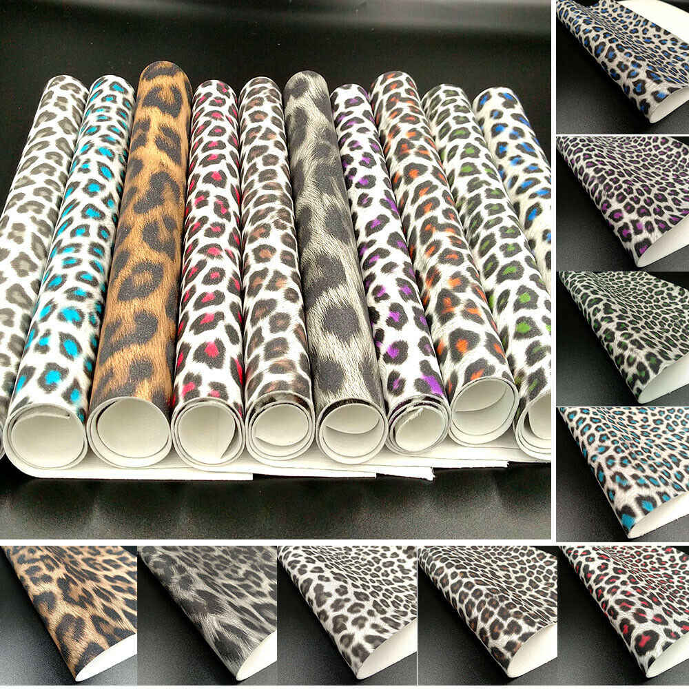 Glitter Shiny Sparkle Leopard Print Stoff PU Leder Wasserdicht DIY Nähen Bögen Handwerk A4/A5 Blätter