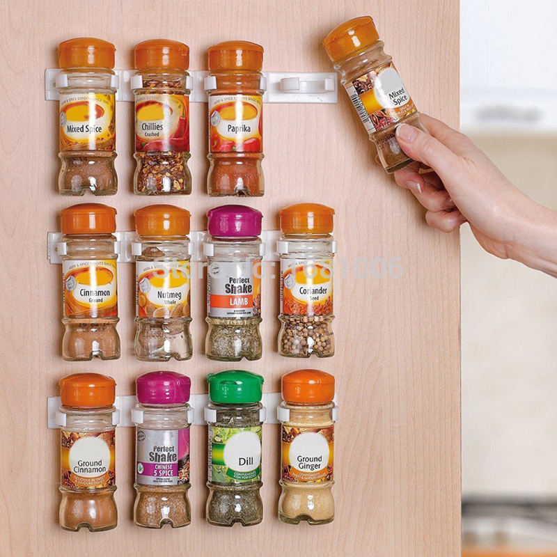spice rack spice wall storage plastic kitchen organizer rack 12 cabinet door hooks 3pcsset kitchen accessories s002