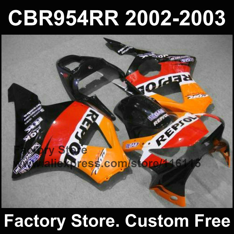 100% ABS orange black repsol custom fairing for  CBR 900RR 2002 2003 fireblade CBR 954 RR CBR 900RR 02 03 fairings kit