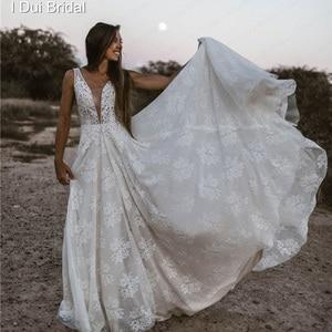 Image 3 - צולל צוואר חתונת שמלות פרל קריסטל חרוזים תחרה כלה שמלת מפעל תפור לפי מידה תמונה אמיתית