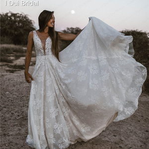 Image 3 - Plunging Neck Wedding Dresses Pearl Crystal Beaded Lace Bridal Gown Factory Custom Made Real Photo