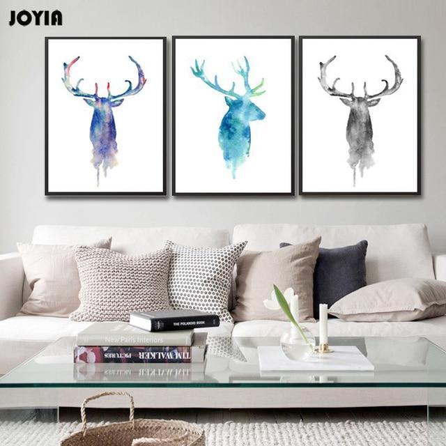Antler Stag Deer Watercolor Art Print Abstract Paintings On Canvas ...