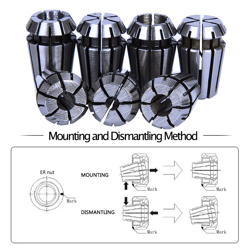 7Pcs 1-7mm ER11 Collet Chuck Tool Bits Holder Spring Collet for CNC Engraving Machine & Milling Lathe Tool