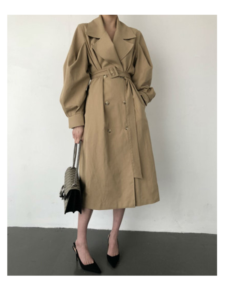 Autumn 19 Woman khaki Long Trench Coat British Style Vintage Puff Sleeve Long Dust Coat Elegant Waist Bandage Windbreaker 3