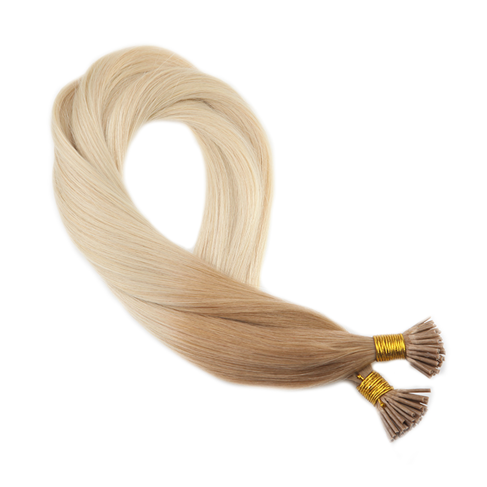 Moresoo I Tip Human Hair Extensions Keratin Human Hair Real Remy Human Hair Pre-bonded Hair Ombre Color 12/60 50G/50S/Pack