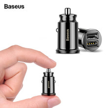 Baseus Mini Car Charger For iPhone x Samsung s10 Xiaomi mi 9 3.1A Fast Car Charging USB Car Charger Adapter Mobile Phone Charger(China)