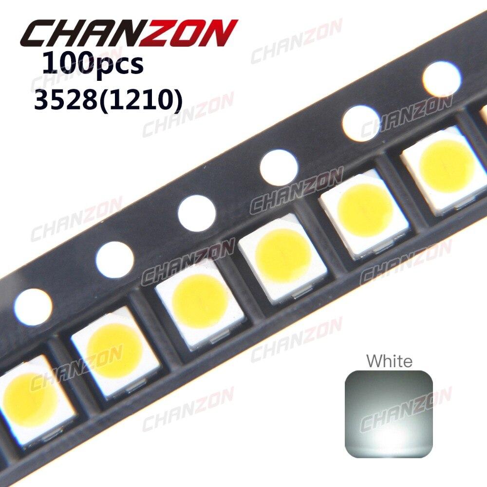100 pces 3528 led smd branco chip plcc2 ultra brilhante superfície montagem 20ma 3 v 7-8lm diodo emissor de luz led 1210 smt lâmpada luz