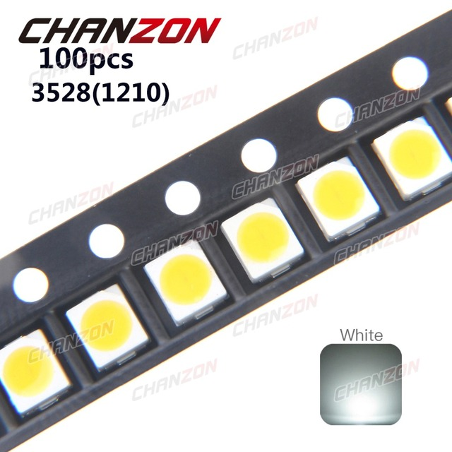 100pcs 3528 Led Smd White Chip Plcc2 Ultra Bright Surface