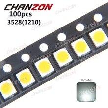 100pcs 3528 LED SMD White Chip PLCC2 Ultra Bright Surface Mount 20mA 3V 7-8LM Light-Emitting Diode LED 1210 SMT Lamp Light