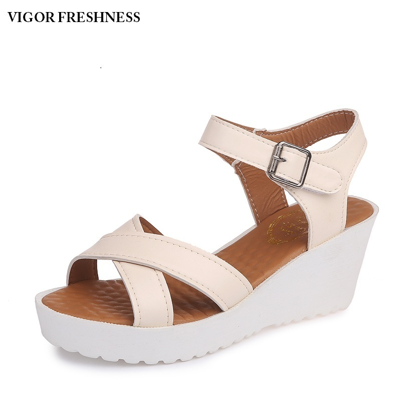 VIGOR FRESHNESS Shoes Women Sandals Summer Platform Sandals Girl Shoes Lady Wedges Sandals Summer Shoes Female Middle Heels W152 minika women sandals summer shoes breathable lace flats platform wedges lose weight creepers summer sandals cd41