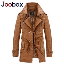 JOOBOX Brand Long Leather Jacket Men Plus Size 3XL Fur Coat Motorcycle Leather PU jackets Coat