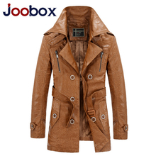JOOBOX Brand Long Leather Jacket Men Plus Size 3XL Fur Coat Motorcycle Leather PU jackets Coat Male jaqueta de couro masculina