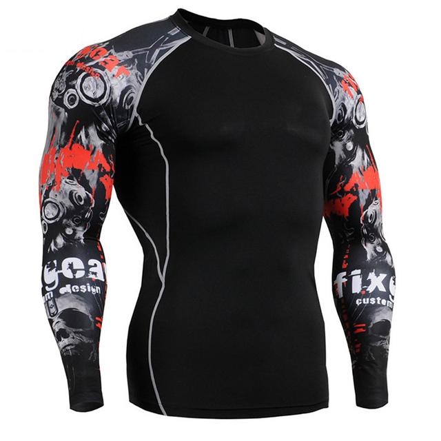Mens Camisas De Compressão Skin Tight Musculação Mangas Compridas Camisola Roupas MMA Crossfit Exercício Workout Sportswear Aptidão