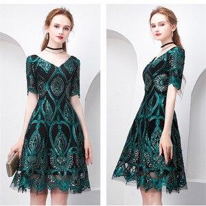 Image 3 - 美容エミリーグリーンカクテルドレス夏vネック半袖ブリンブリンスパンコール女性パーティーファッションデザイナーカクテルドレス