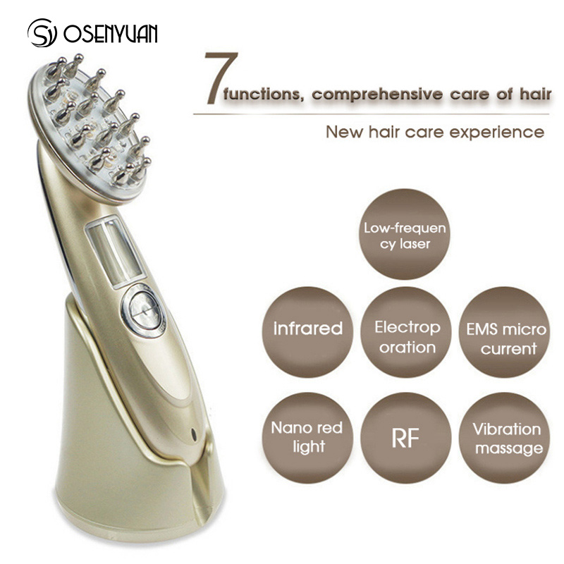 New Laser Treatment Comb Rechargeable USB Charging Laser Comb Vibrating Scalp Massage Hair Regrowth Stimulate Hair Massage Brush in Straightening Irons from Home Appliances