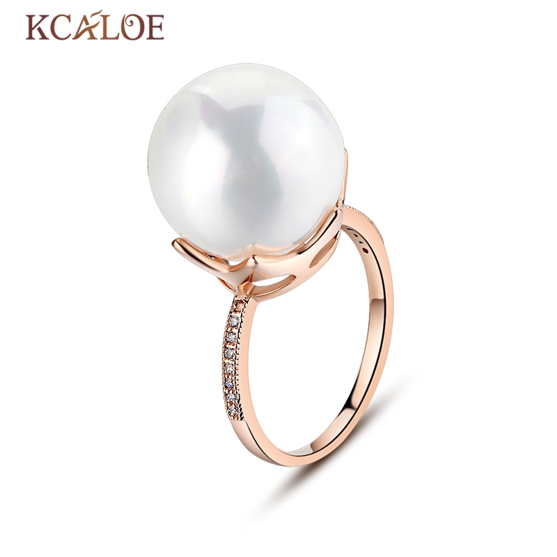 KCALOE Natural Pearl Ring Fashion Wedding Shell Pearl Silver Plated And Rose Gold Anel Big Round Ball Engagement Rings For Women