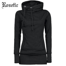 все цены на Rosetic Gothic Casual Women Hoodie Solid Pocket Hooded Mid Length Drawstring Long Sleeve Multi Color Plus Size Warm Hoodies онлайн