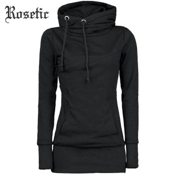 Rosetic Gothic Casual Women Hoodie Solid Pocket Hooded Mid Length Drawstring Long Sleeve Multi Color Plus Size Warm Hoodies drawstring waist letters embroidered multi pocket hooded long sleeves thicken coat for men