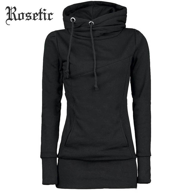 Rosetic Gothic Casual Women Hoodie Solid Pocket Hooded Mid Length Drawstring Long Sleeve Multi Color Plus Size Warm Hoodies