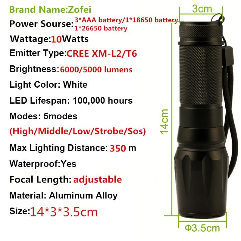 Lanternas e Lanternas cree xm-l2 u3 t6 led Distância Focal : Ajustável
