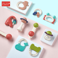 Baby Rattles Toys Infant Cartoon Hand Ring Bell Grasping Toy 0 12 Months Teething Safe Development Early Educational Gifts 9Pcs