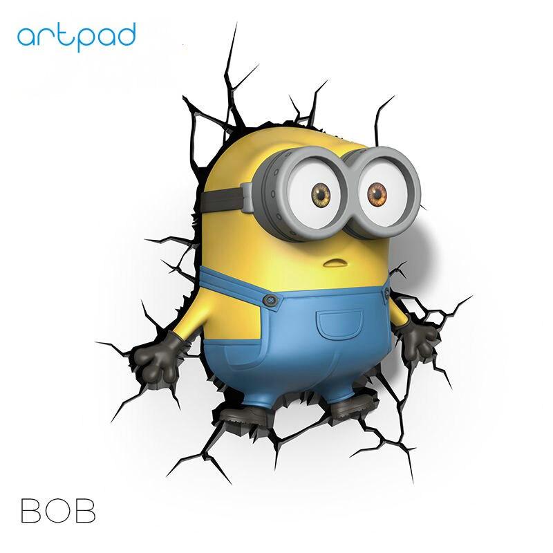 Bozz'art Personnage de Dessin Animé Despicable Me Minion Bob LED 3D Lampe Enfant Enfants Chambre Belle Décoration Sticker Mural Interrupteur de Lumière