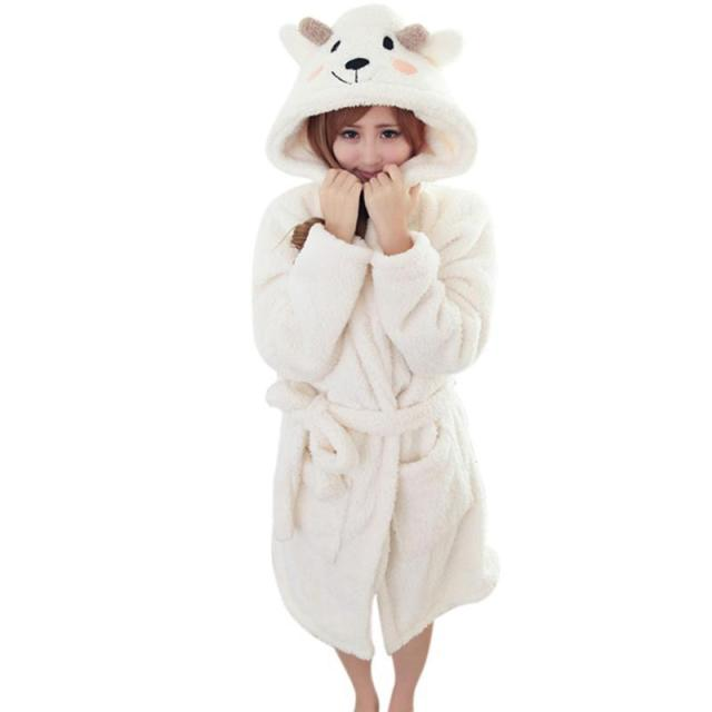 Lady Pajamas Bath Robe  Women Coral Velvet Bathrobes Women Cartoon Panda Homewear New Warm Winter Sleepwear
