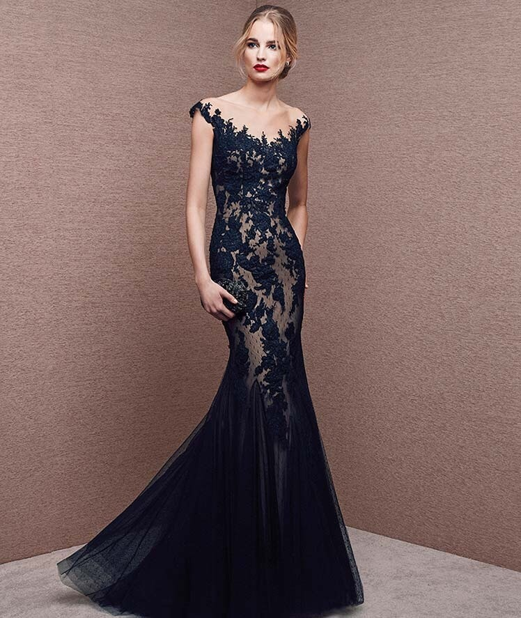 Dark Navy Blue Formal Dresses Evening Gowns Long Appliques Tulle Skirt Sheer Cap Sleeve Elegant
