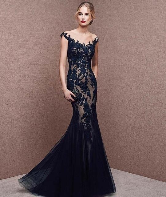 Dark Navy Blue Formal Dresses Evening Gowns Long Appliques Tulle Skirt Sheer  Cap Sleeve Elegant Evening Dress 2016 F12293 8930098aca69