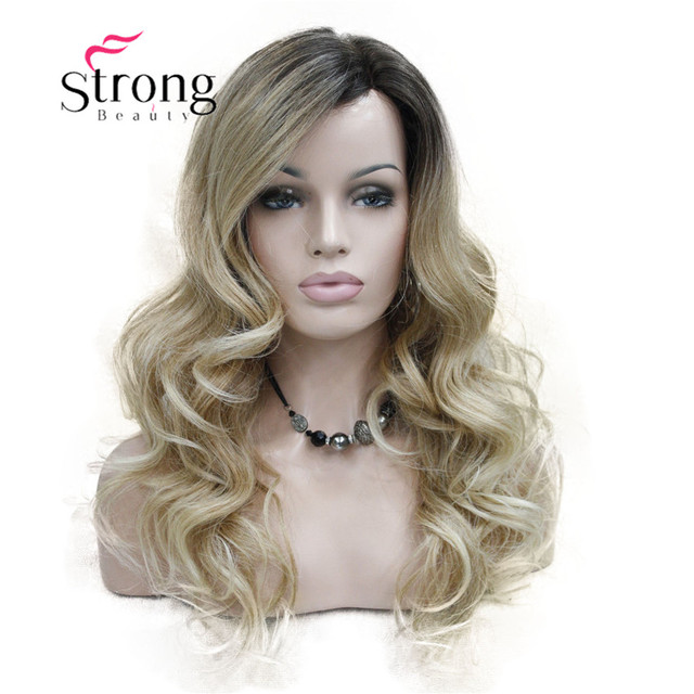 Strongbeauty Lace Long Curly Brown Blonde Ombre Monofilament Side