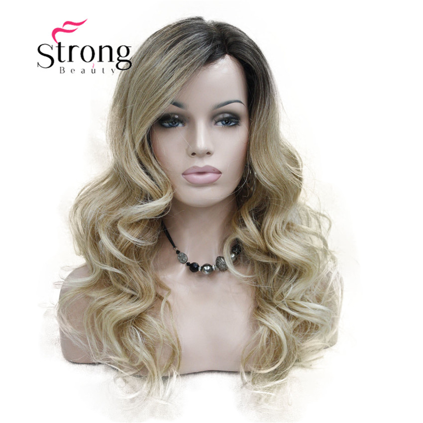 StrongBeauty Lace Long Curly Brown BLonde Ombre Monofilament Side Part Heat ok Ombre Dark Brown Blonde Full Synthetic Wig
