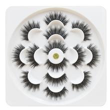 7 pairs/1box mink eyelashes natural long 3d mink eyelash extension hand made false lashes makeup eyelashes for beauty недорого