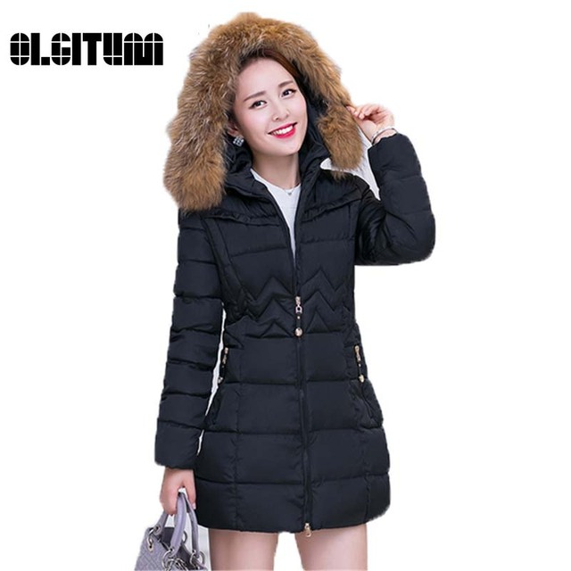 2017 Moda Mulheres jaqueta de inverno Estilo Longo Parkas Mulheres Casaco de Inverno Quente Parka Casaco Magro Ocasional Plus Size Manteau Fe