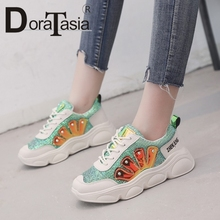 DORATASIA 2019 New Autumn Girl Glitters Sneakers Women Fashion Bling lace-up Flats Casual Platform Shoes Woman